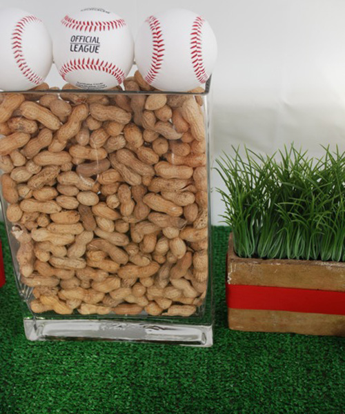 Peanuts and baseball centerpiece
