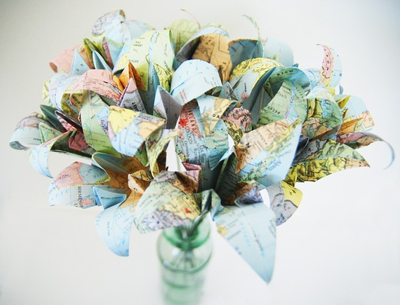 Recycled atlas travel wedding bouquet