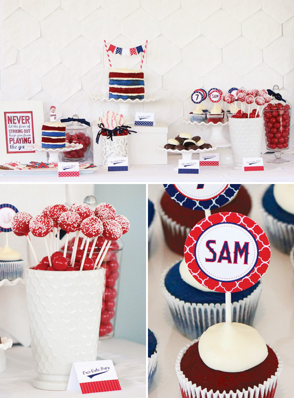 red, white and blue modern baseball party