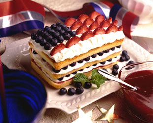 red white blue and Strawberry and  Blueberry Pound Cake