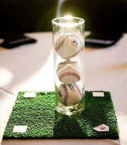 simple yet lovely baseball centerpiece