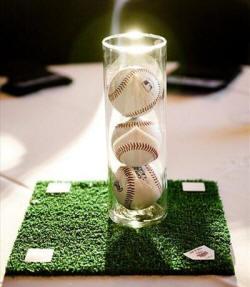 simple yet lovely baseball centerpiece