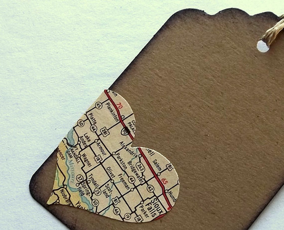 Small favor tags with with cutest map heart.