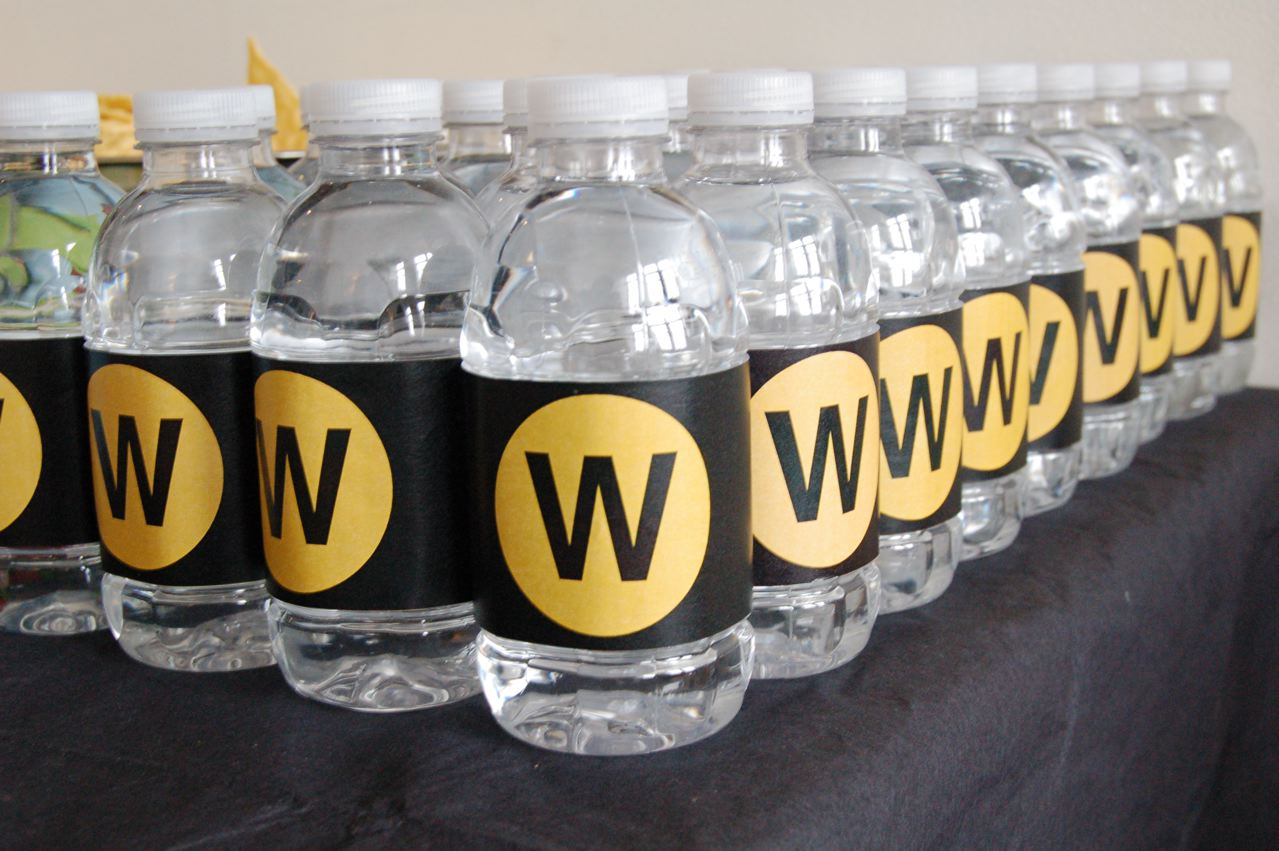 Subway party water bottles