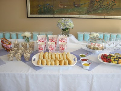 Super cute mini baseball foods at this baby shower
