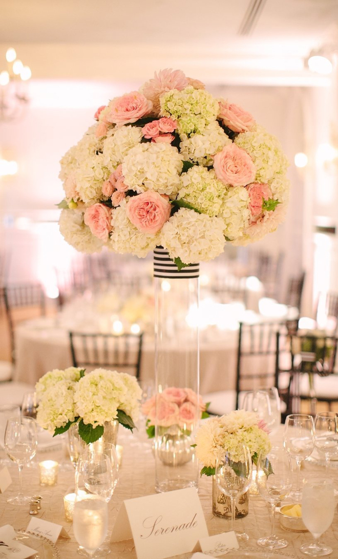 Tall soft and romantic centerpiece with navy and white stripe accents!