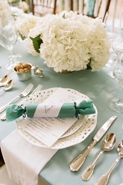 Teal and white fresh and chic tablescape