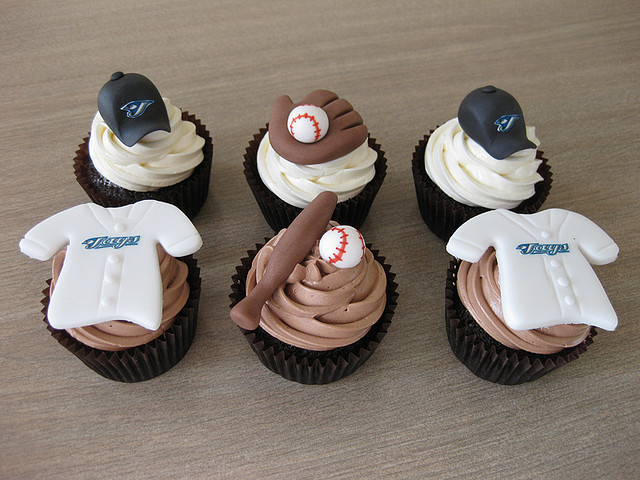 Team Jersey Topped Baseball Cupcakes