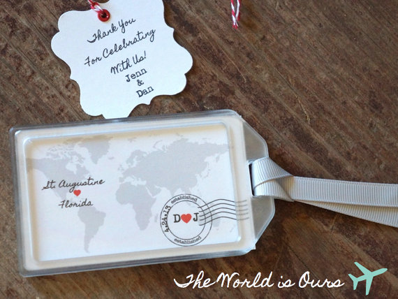 Travel luggage tag wedding favors-buy these on Etsy!