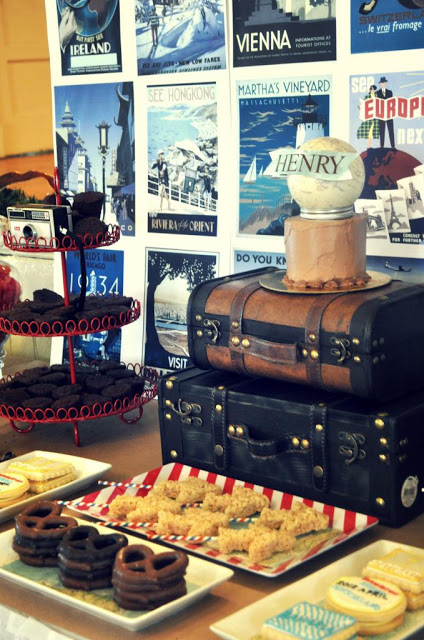 Travel themed dessert table with the cuestes vintage poster background