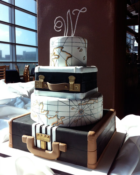 Travel themed wedding cake that is out of this world