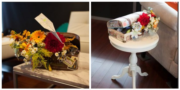 travel themed wedding centerpieces in suitcases!