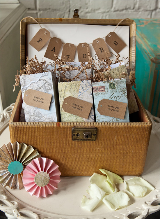 Travel themed wedding favors-cute for each guest!