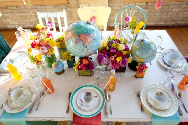 Travel wedding tablescape