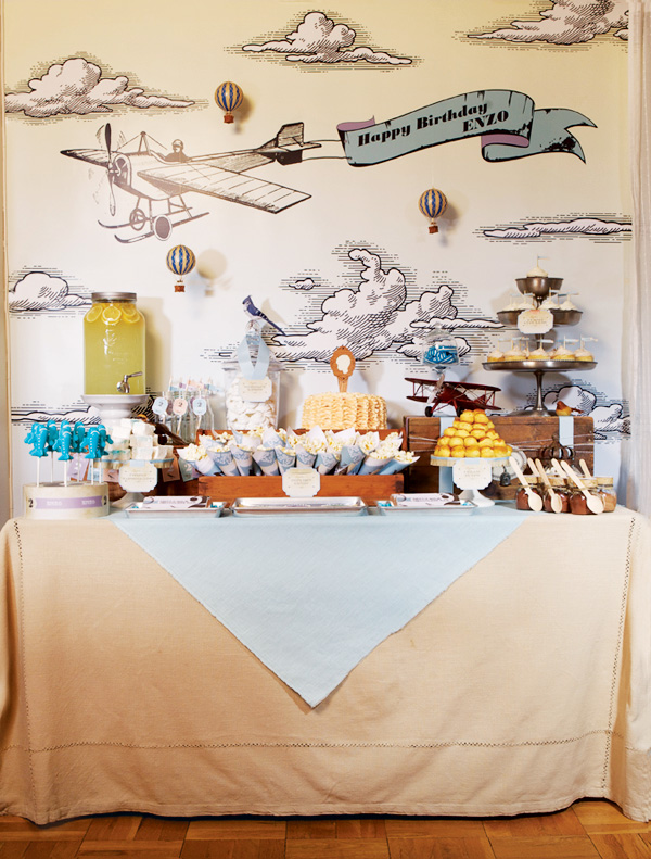 vintage airplane dessert table and party