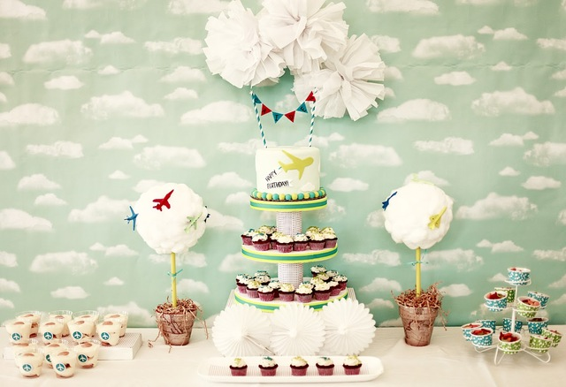 vintage airplane party in browns and greens!