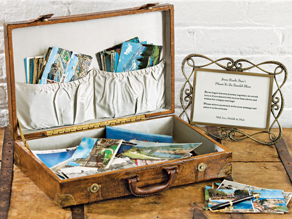 vintage luggage wedding guestbook with postcards to sign