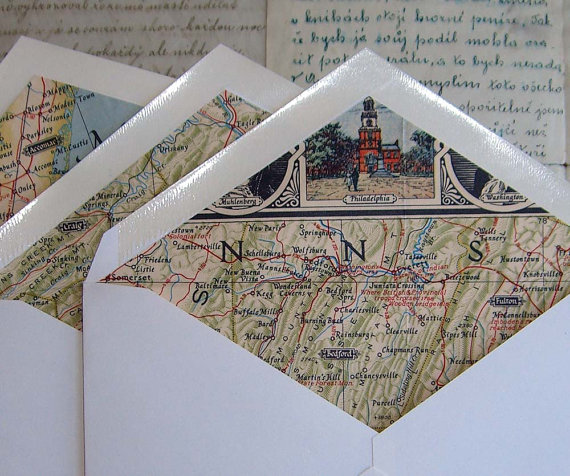 Vintage map lined envelops, perfect for travel parties and weddings!