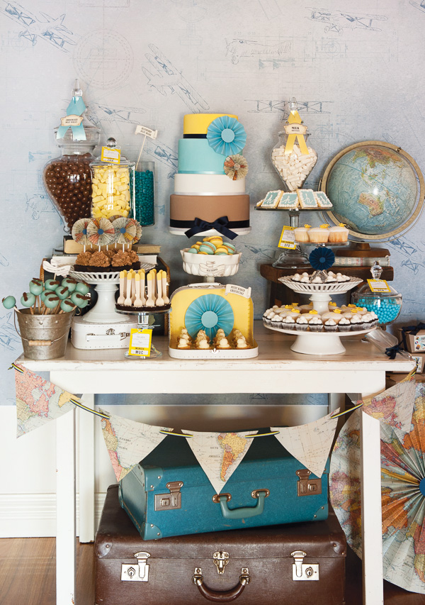 vintage travel party dessert table