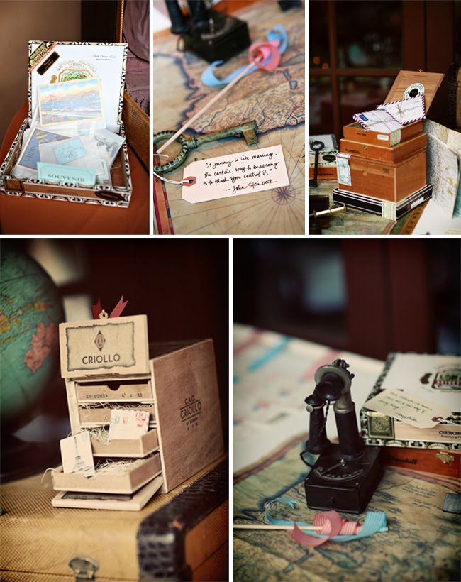 Vintage travel wedding decor pieces
