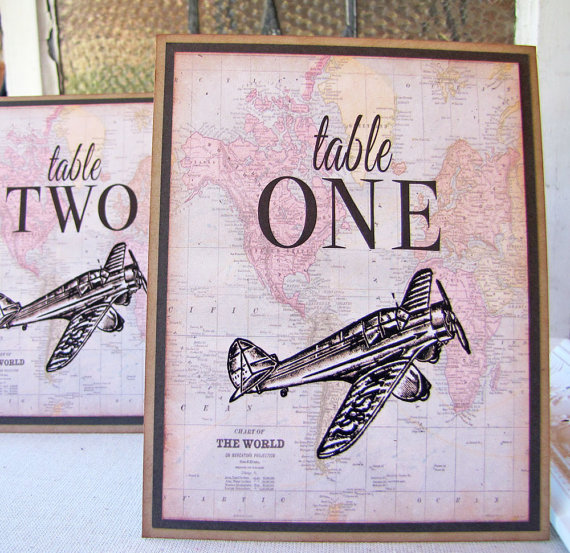 Vintage world traveler wedding table number