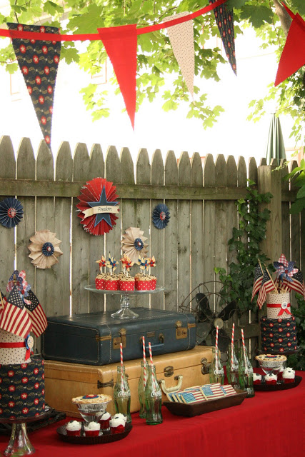 Vintage WWll inspired Dessert Table for 4th of July