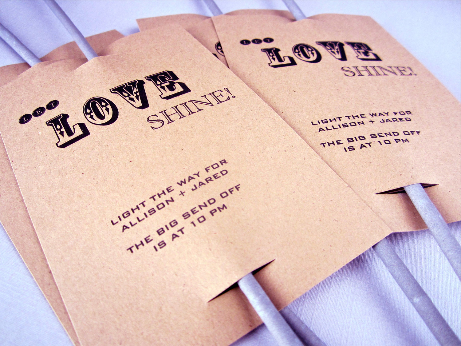 Wedding sparklers with kraft paper tags