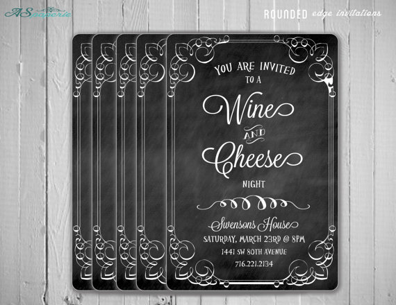 Wine and cheese party elegant invitation
