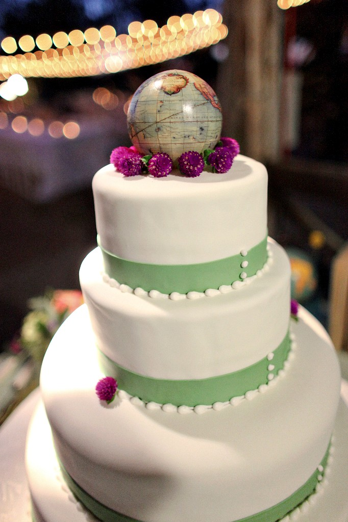 World globe topped wedding cake