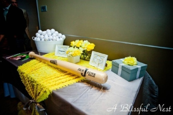 Baseball wedding baseball bat guestbook
