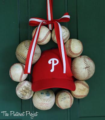 DIY Vintage baseball wreath