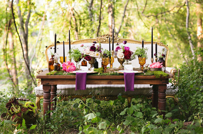 enchanted forest styled weddding table