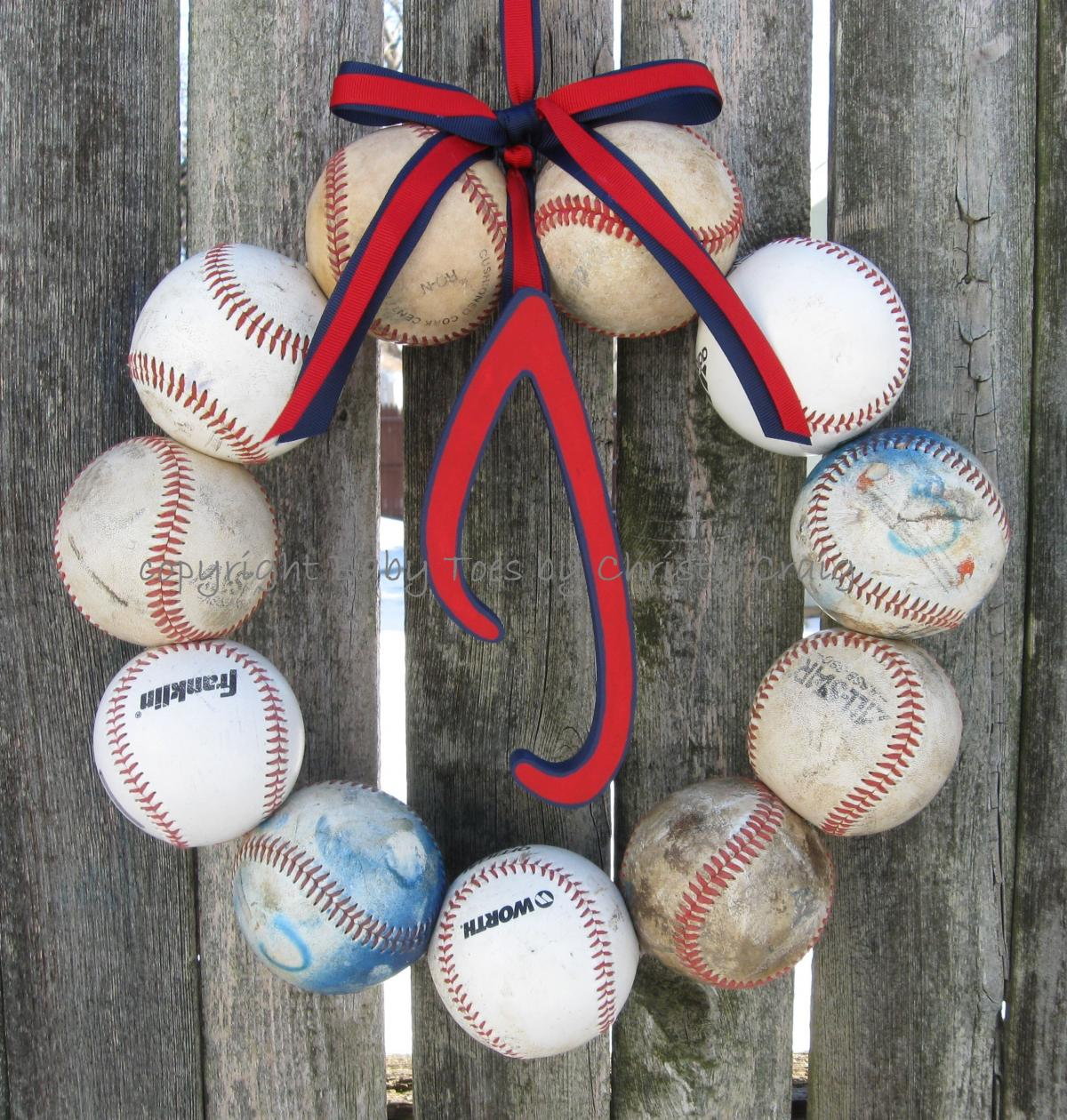 Love this J inital in this baseball wreath