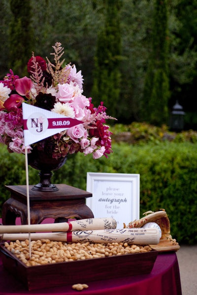 Pretty baseball bat guestbook display