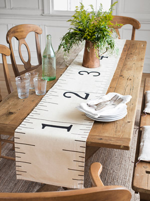 Ruler table runner for Back to School Party