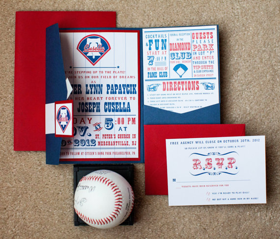 Super lovely baseball themed wedding invitation