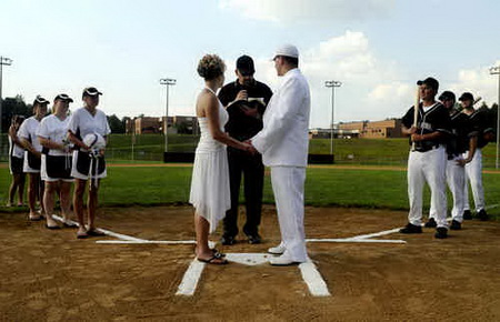 Super Cute Baseball wedding ceremony