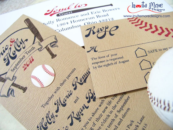 perfect catch! a baseball wedding - b. lovely events, Wedding invitations