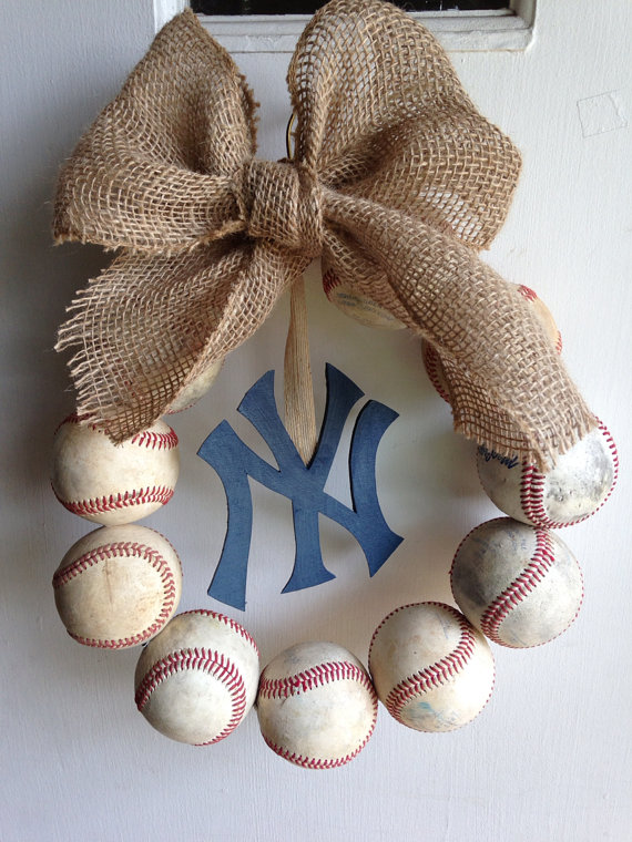 Vintage Yankee Baseball Wreath with Burlap Bow
